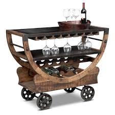 farrell bar cart brown value city furniture and mattresses
