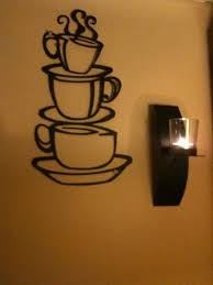 Coffee House Cup Java Silhouette Wall Art Metal Mug Kitchen Home