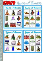 Types Of Houses Pictures Types Of Houses Part 4 Bingo Game 10 Cards Instructions