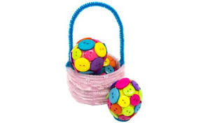 fuzzy easter button easter eggs fuzzy stick basket craft project ideas