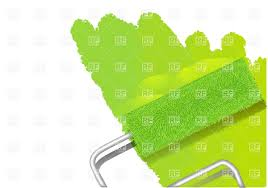 paint roller painting wall in lime green color vector image 27169