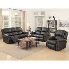 Recliner Sofa Sets Suncoo 3 Bonded Leather Recliner Sofa Set With