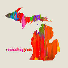 Michigan State Map Vibrant Colorful Michigan State Map Painting Mixed Media By Design