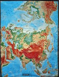Large Vintage World Map by Large Extreme Raised Relief Map Of Global Eurasia
