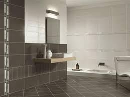 large white tile bathroom white porcelain vessel sink dark gray