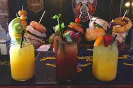 behold the insanely epic garnishes on the brunch cocktails at