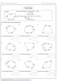 interior angle worksheet worksheets