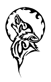 tribal moon and wolf design