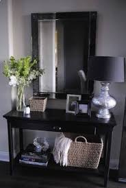 Entryway Table With Baskets Black Console Table Bottom Shelf For Baskets Black Mirror Above