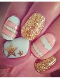 turquoise peach and sparkly gold fashion nails girly cute nails