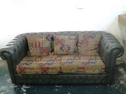 Leather Sofa Fabric Cushions by Green Leather Chesterfield Style 2 Seater Sofa With Aztec Style