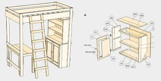 Loft Bed Plans Free Full by Free Full Size Loft Bed With Adorable Free Loft Bed With Desk
