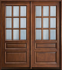 custom front door double solid wood with walnut finish