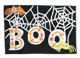 amazon com midnight market halloween boo spider throw bath rug
