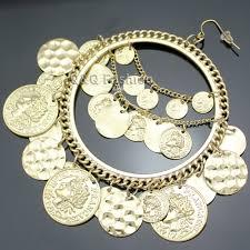 gipsy earrings vintage tribal coins big hoop banjara belly earrings