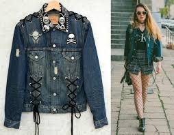 denim motorcycle jacket lace up jacket levis biker denim skull rocker patched skull