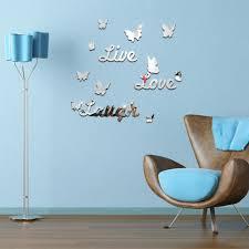100 mirror decals home decor silver acrylic 3d rectangle