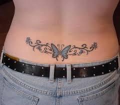 lower back design image blue ink butterfly lowerback