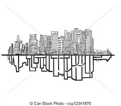 vectors illustration of new york skyline black and white vector