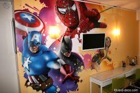 chambre marvel fresque décor graffiti marvel dans une chambre d enfant