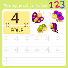 Four Worksheet Worksheet Writing Practice Number Four Stock Vector Image 78960785
