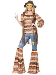 ladies hippy fancy dress costume womens 70s flower power flares
