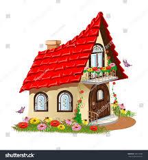 fairytale house balcony flowers isolated on stock vector 508173430