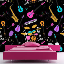 wallpaper pink guitar drums saxaphone wall mural music pattern wallpaper bedroom photo decor