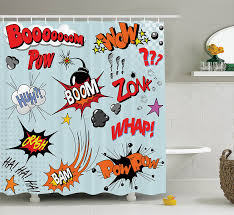 Pow Shower Curtain by Amazon Com Ambesonne 1950s Decor Collection Comic Book Explosion