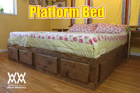 Bed Frame Plans With Drawers Platform Bed With Drawers Woodworking For Mere Mortals