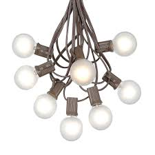 100 frosted white g40 globe round outdoor string light set on