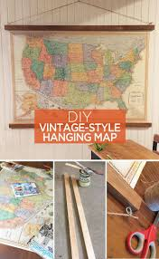 hanging pictures ideas vintage style hanging map an easy diy decor idea