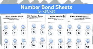 mixed number bonds u2013 addition algebra worksheets for ks1 and ks2