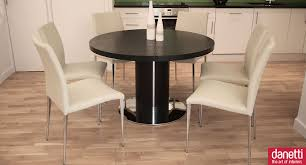 Cream Leather Dining Chairs And Table Dining Room Good Dining Room Decoration With Mahogany Wood Round