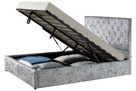 buy chatsworth silver crushed velvet ottoman storage bed frame at