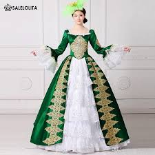 Marie Antoinette Halloween Costumes 2017 Royal Green Embroidery 18th Century Costume Renaissance Civil