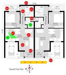 row house floor plan plan analysis of 3 bhk row house 135 sq mt