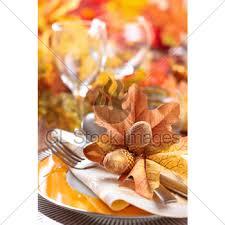 thanksgiving dinner decoration gl stock images
