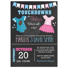 reveal baby shower touchdowns or tutus gender reveal baby shower invitations