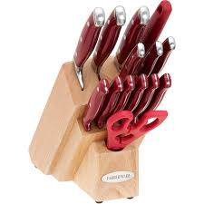 farberware kitchen knives farberware cutlery 15 piece forged knife set with red handles