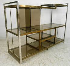 Brass Bookcase Mid Century Modern Milo Baughman Chrome Brass And Glass Low