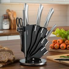 cutlery set with stand tower 7 piece knife set w stand s steel tower from tower uk