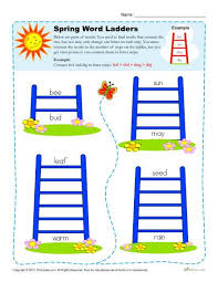 word ladder spring worksheets for 2nd 3rd 4th grade