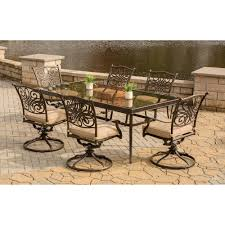 traditions 7 piece dining set in tan with extra large glass top home outdoor living outdoor dining sets traditions traditions 7 piece dining set in tan with extra large glass top dining table traddn7pcswg