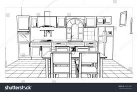 Sketch Kitchen Design by Kitchen Room Sketch Design Stock Vector 733410391 Shutterstock