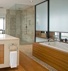 wood tile bathroom shower white bathtub built in storage shelves