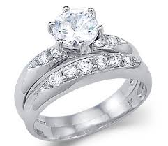 white gold wedding sets solid 14k white gold solitaire engagement wedding set