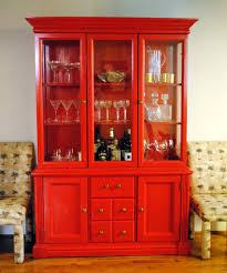 wooden and glass doors funiture modern wooden china cabinet and buffet in red using