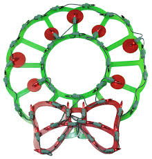 lighted wreath bow berries window silhouette decoration