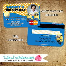 diy minion invitations minions credit card invitations personalized unique invitations